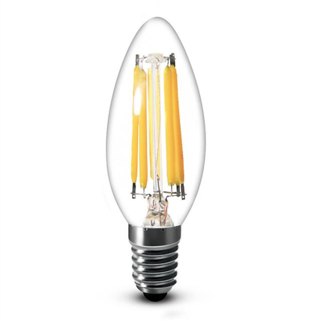 Becuri LED Lumânare 600 lm E12 C35 6 LED-uri de margele COB Intensitate Luminoasă Reglabilă Alb Cald 110-130 V / 1 bc / RoHs / LVD