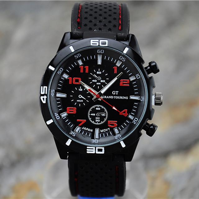 Erkek Spor Saat Bilek Saati Quartz Gündelik Saatler Analog Beyaz Sarı Kırmzı / Silikon / Bir yıl / Tianqiu 377