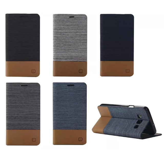 Etui Til Samsung Galaxy A7 / A5 / A3 Kortholder / med stativ / Flipp Heldekkende etui Ensfarget PU Leather