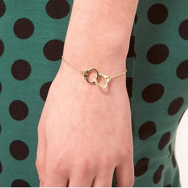 Pentru femei Brățări cu Lanț & Legături Brățări cu Talismane Cătușe Parteneri în crimă centralizare Cerc de interblocare femei Small Aliaj Bijuterii brățară Auriu / Argintiu Pentru Casual