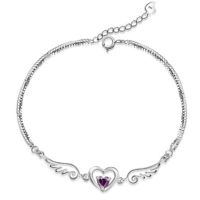 Beautiful silver heart and wings link bracelet