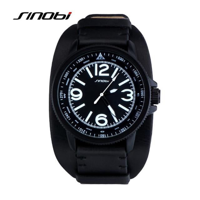 SINOBI Муж. Спортивные часы Наручные часы Кварцевый Классика Защита от влаги Аналоговый Черный / Кожа