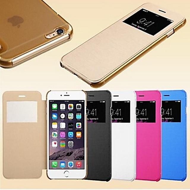 Etui Til iPhone 5 / Apple iPhone SE / 5s / iPhone 5 Med vindue / Auto Sluk / Flip Fuldt etui Ensfarvet Hårdt PU Læder