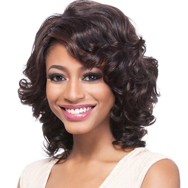 Synteettiset peruukit Kihara Laineita Laineita Sivuosa Peruukki Lyhyt Musta Synteettiset hiukset 16 inch Naisten Musta