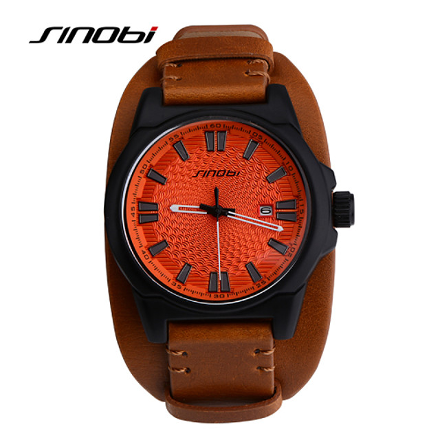 SINOBI Men's Sport Watch Wrist Watch Quartz Classic Water Resistant / Waterproof Analog Brown / Leather / Two Years / Calendar / date / day / Two Years