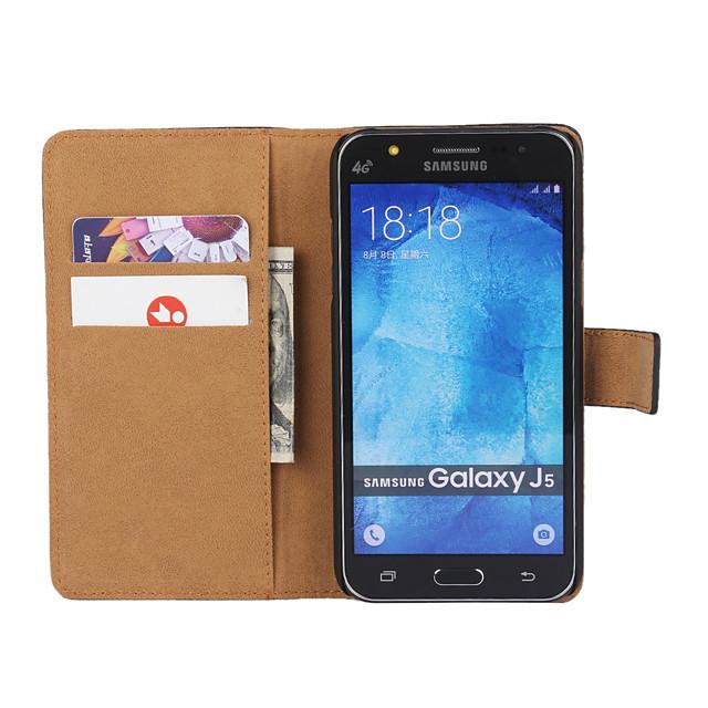 Pouzdro Uyumluluk Samsung Galaxy J7 (2016) / J7 / J5 (2016) Cüzdan / Kart Tutucu / Satandlı Tam Kaplama Kılıf Solid PU Deri