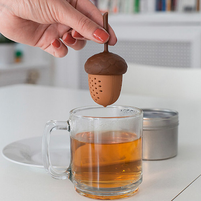 silicon veveriță acornea infuzer loose piulițe de ceai șapă de ceai