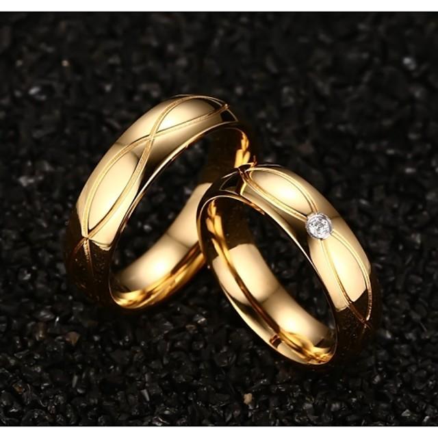 Inel de declarație Diamant sintetic Auriu Oțel titan Placat Auriu Aur Alb femei Modă / Pentru femei