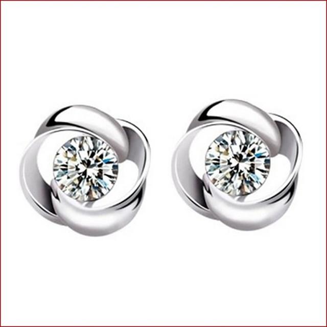 Pentru femei Cristal Cercei Stud femei Plastic Cristal Argintiu cercei Bijuterii Argintiu Pentru Nuntă Petrecere Zilnic Casual Sport
