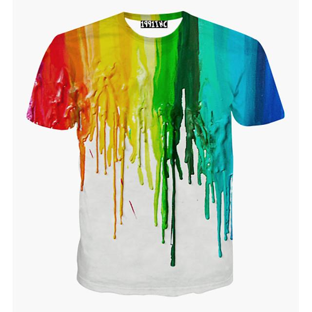 Homme T-Shirts T-shirt Impression 3D Graphique Couleur Mélangée Grandes Tailles Imprimé Manches Courtes Quotidien Hauts Actif Blanche