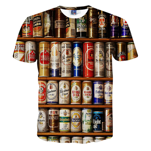 Homens Gráfico Cerveja Camiseta Estampado Manga Curta Diário Blusas Activo Decote Redondo Branco / Verão