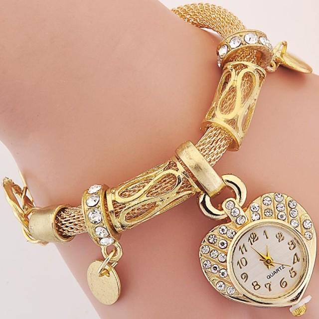 Pentru femei femei Ceasuri de lux Ceas Brățară Ceas de Mână Stil Vintage Charm imitație de diamant Analog Auriu Argintiu / Un an / Un an