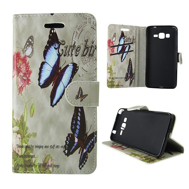 Кейс для Назначение SSamsung Galaxy A5(2016) / A3(2016) / A5 Бумажник для карт / со стендом / Флип Чехол Бабочка Кожа PU