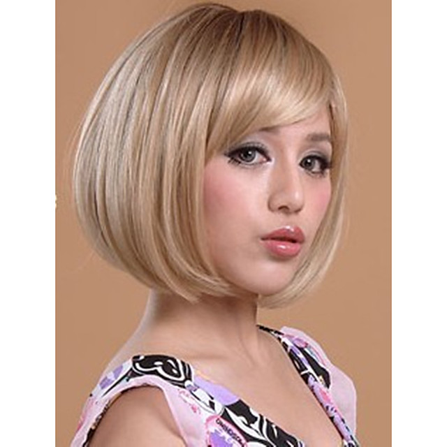 Synthetic Wig Straight Straight Bob Short Bob With Bangs Wig Blonde Short Synthetic Hair Women's Blonde StrongBeauty