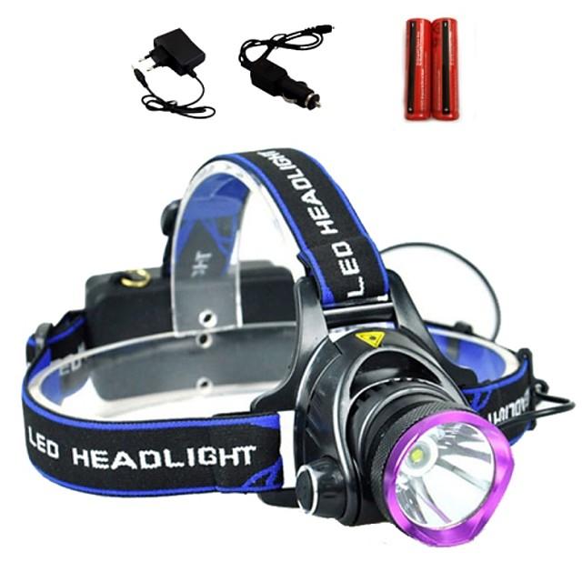 LS1792 Lampes Frontales Phare Avant de Moto Tactique Imperméable 2000 lm LED LED 1 Émetteurs 3 Mode d'Eclairage avec Piles et Chargeurs Tactique Imperméable Fonction Zoom Rechargeable Faisceau