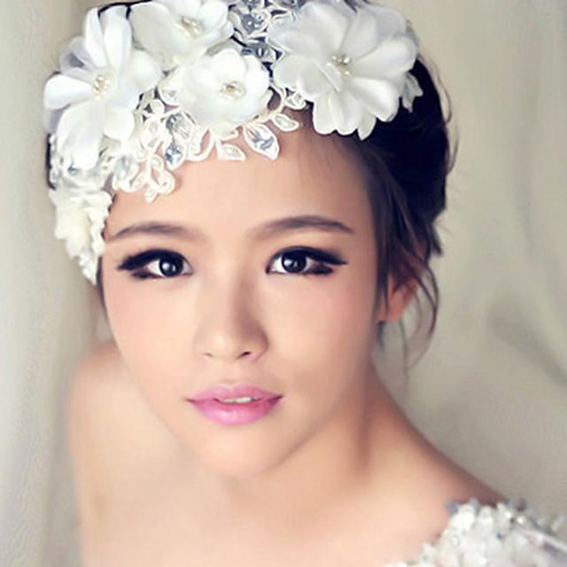 Femme Bandeaux Chappeaux Bibi Pour Mariage Soirée Perle Plastique Alliage Blanche