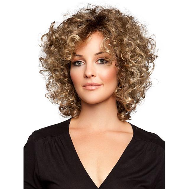 Synteettiset peruukit Kihara Kihara Peruukki Lyhyt Golden Brown Synteettiset hiukset Naisten Ruskea StrongBeauty