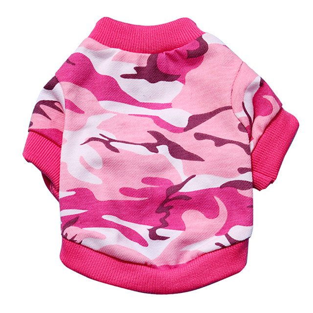 Cat Dog Shirt / T-Shirt Puppy Clothes Camo / Camouflage Fashion Dog Clothes Puppy Clothes Dog Outfits Pink Green Costume for Girl and Boy Dog Mixed Material XS S M L
