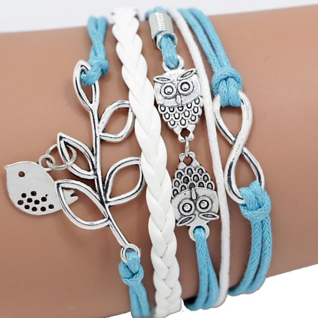 Bratari din piele Împletit țesut Pasăre Animal Ramura de maslin femei Design Unic Casual Modă Piele Piele Bijuterii brățară Albastru Pentru Cadouri de Crăciun