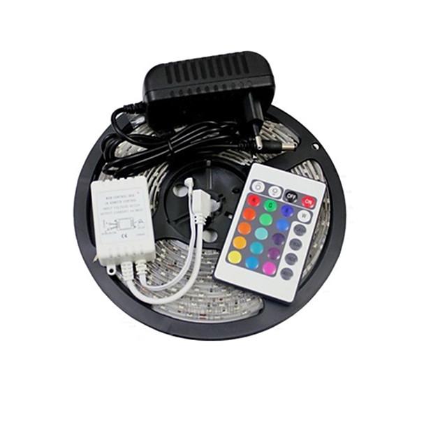ZDM® 5m Bare De Becuri LED Rigide 150 LED-uri 5050 SMD 1 Controler la distanță de 24 de taste / Adaptor 3 x 12V 3A RGB De Legat 12 V 1set