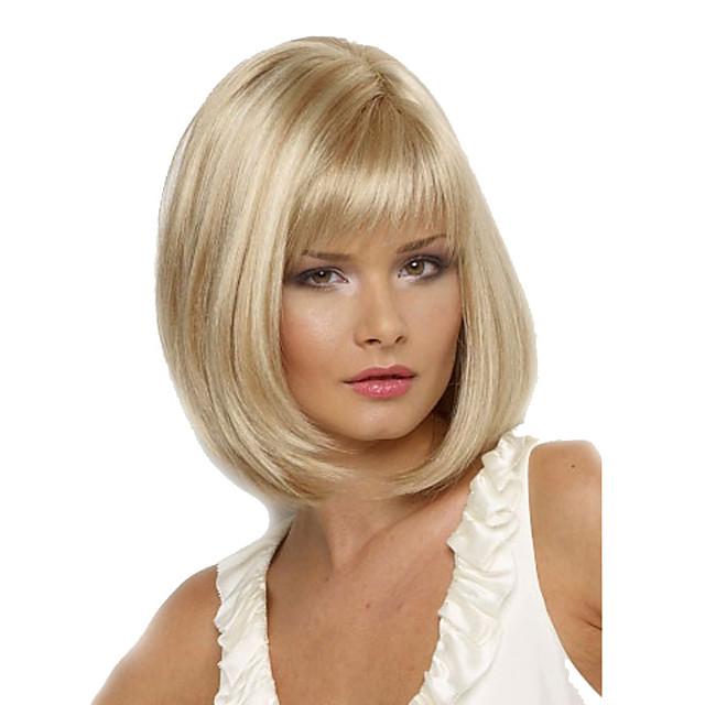 Perruque Synthétique Droit Droite Bob Coupe Carré Avec Frange Perruque Court Blond Cheveux Synthétiques Femme Résistant à la chaleur Partie latérale Blond