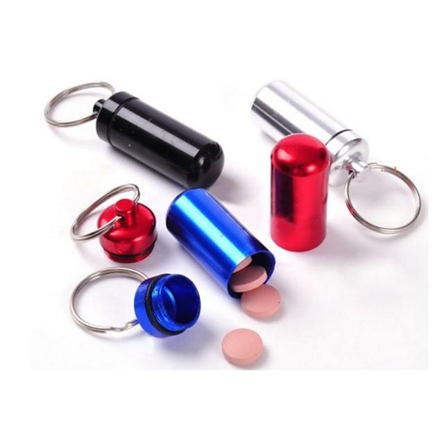 vanntett liten metallbeholder aluminium pille boksen holder nøkkelring medisin pakking flaske
