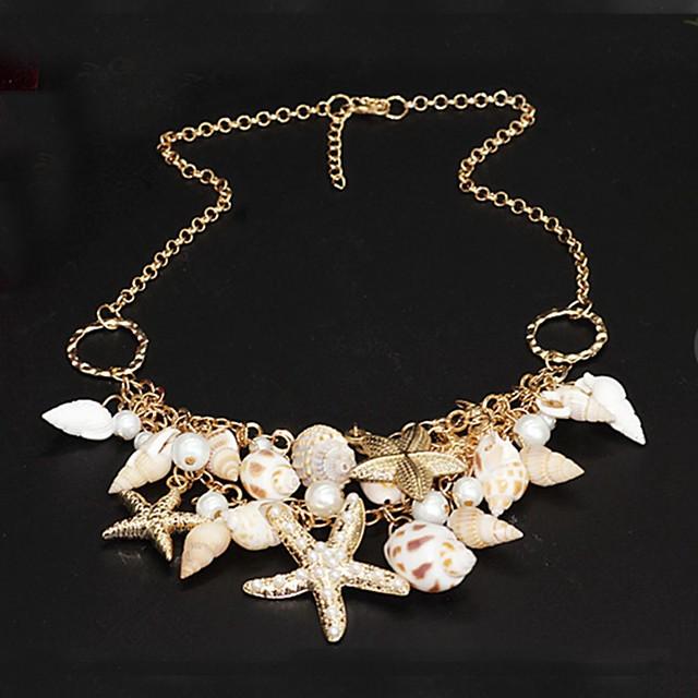 Pentru femei Perle Coliere Αστέρι Stea de mare femei Design Unic Strat dublu Modă Perle Scoică Cowrie Shell Auriu Coliere Bijuterii Pentru Petrecere Ocazie specială Zilnic Plajă