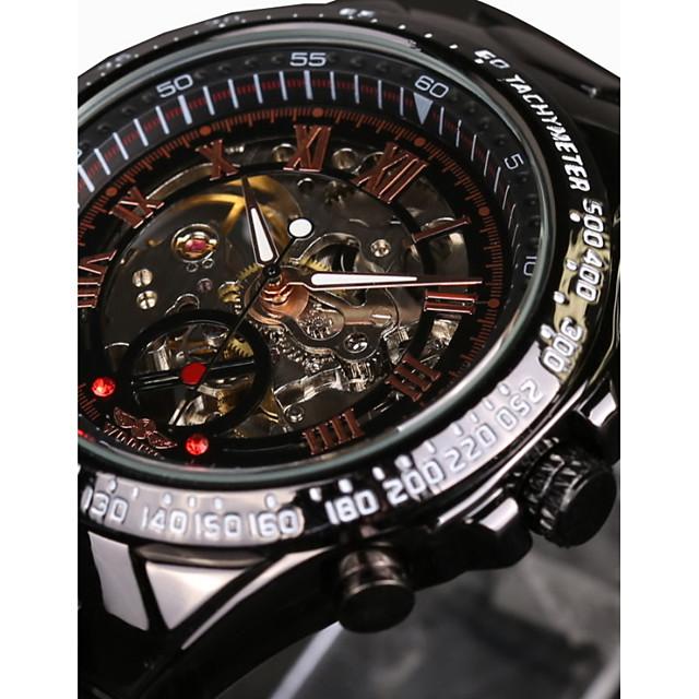 WINNER Pánské Hodinky s lebkou Náramkové hodinky mechanické hodinky Automatické natahování Luxus Voděodolné Analogové Zlatá / bílá Bílá  / modrá Černá / Nerez / Nerez / tachometr / Svítící