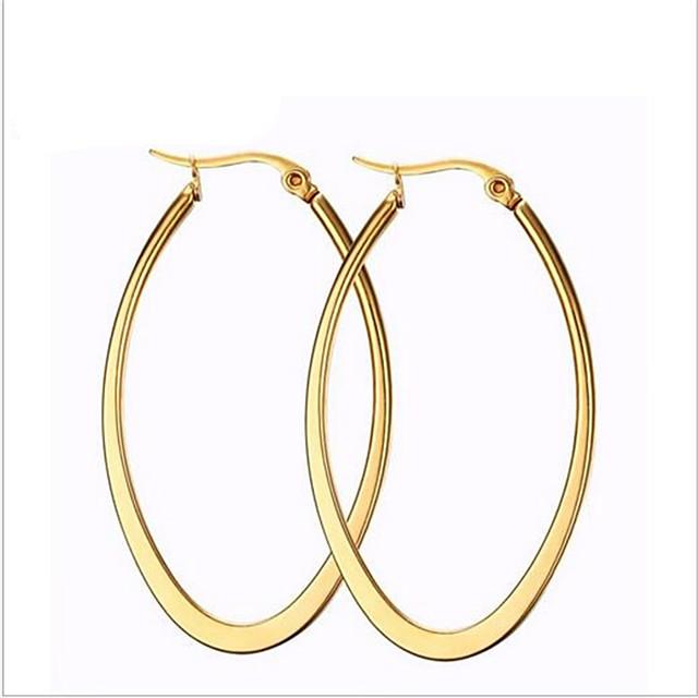 نسائي أقراط طارة منجل موضة كل يوم مطلية بالذهب عيار 18 الصلب التيتانيوم الأقراط مجوهرات ذهبي من أجل مناسب للحفلات مناسب للبس اليومي فضفاض