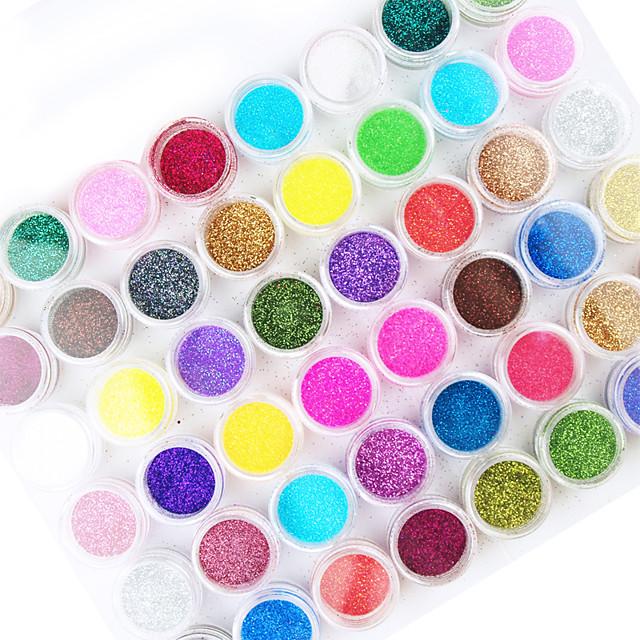 45 45pcs Pulbere cu sclipici Glitters Abstract Jumătăți de Vârfuri de Unghii Strălucire Nail Art Kit pentru