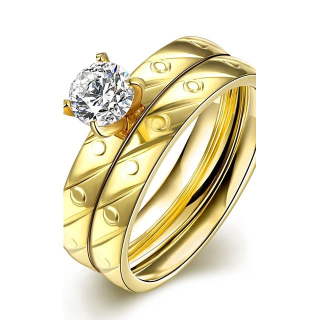 مجموعة مجوهرات مكعب زركونيا تكويم ذهبي زركون مكعبات زركونيا الصلب التيتانيوم موضة 6 7 8 9 / مطلية بالذهب / خواتم مجموعة