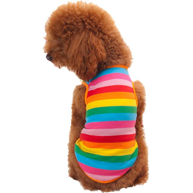 Pisici Câine Tricou Îmbrăcăminte Câini Curcubeu Costume Bumbac Dungi Modă XS S M L XL