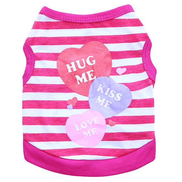 Kot Psy T-shirt Ubrania dla szczeniąt Serce Moda Ubrania dla psów Ubrania dla szczeniąt Stroje dla psów Oddychający Fioletowy Niebieski Różowy Kostium dla dziewczynki i chłopca Bawełna XS S M L