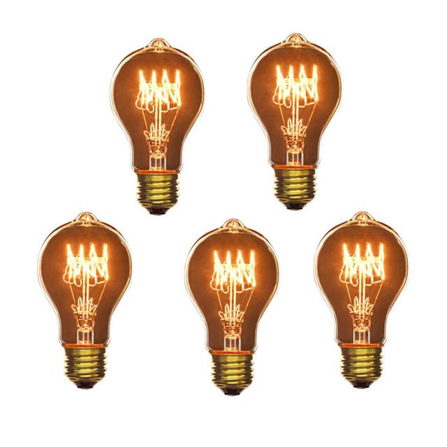 5pcs 40 W E26 / E27 A60(A19) Blanc Chaud 2300 k Rétro / Intensité Réglable / Décorative Ampoule incandescente Edison Vintage 220-240 V