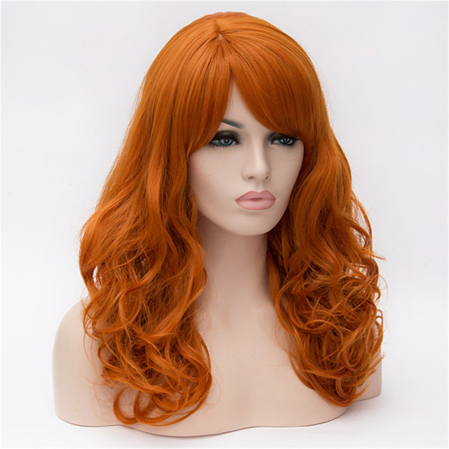 Parrucche sintetiche Molto ondulata Molto ondulata Con frangia Parrucca Lungo Capelli sintetici Per donna Parte laterale Arancione