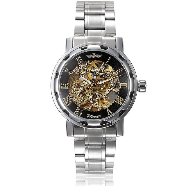 WINNER Bărbați Ceas Schelet Ceas de Mână ceas mecanic Mecanism automat Oțel inoxidabil Argint Gravură scobită Analog Charm - Argintiu