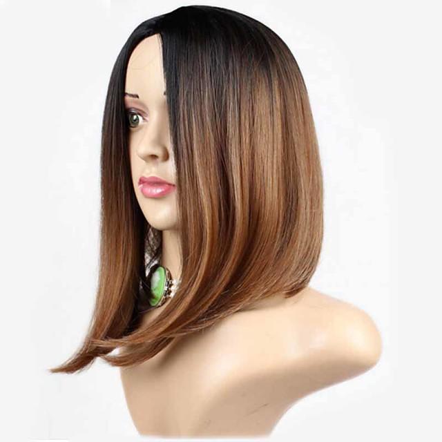 Perruque Synthétique Droit Droite Perruque Moyen Marron Cheveux Synthétiques Femme Racines foncées Ligne de Cheveux Naturelle Marron