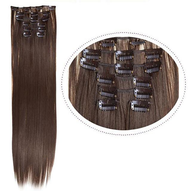Pièce de cheveux Droit Classique Cheveux Synthétiques Extension des cheveux A Clipser Quotidien