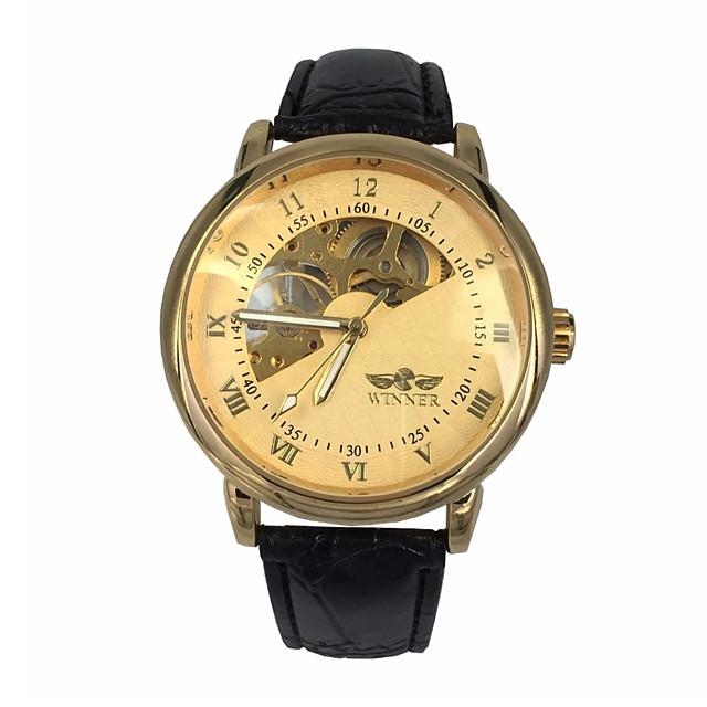 WINNER Męskie Zegarek na nadgarstek zegarek mechaniczny Nakręcanie automatyczne Ponadgabarytowych Luksusowy Wgłębione grawery Analog Złoty / Skóra