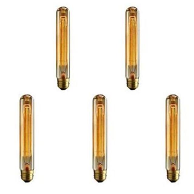 5 pièces 40 W E26 / E27 T185 Blanc Chaud 2300 k Rétro / Intensité Réglable / Décorative Ampoule à incandescence Vintage Edison 220-240 V