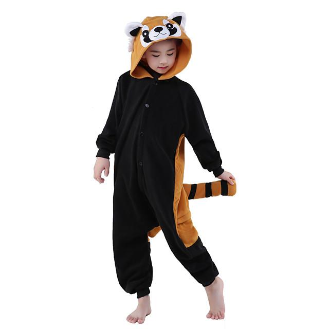 Pentru copii Kigurumi Racoon Pijama Întreagă Lână polară Maro Negru Cosplay Pentru Baieti si fete Sleepwear Pentru Animale Desen animat Festival / Sărbătoare Costume / Leotard / Onesie