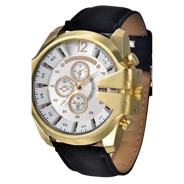 Homens Relógio de Moda Quartzo Digital Casual / Analógico Preto Azul Marron / Aço Inoxidável / Couro