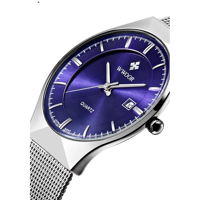 WWOOR Bărbați Pentru cupluri Ceas de Mână Quartz Lux Rezistent la Apă Analog Alb Negru Albastru Închis / Oțel inoxidabil / Oțel inoxidabil / Doi ani / Calendar / Doi ani
