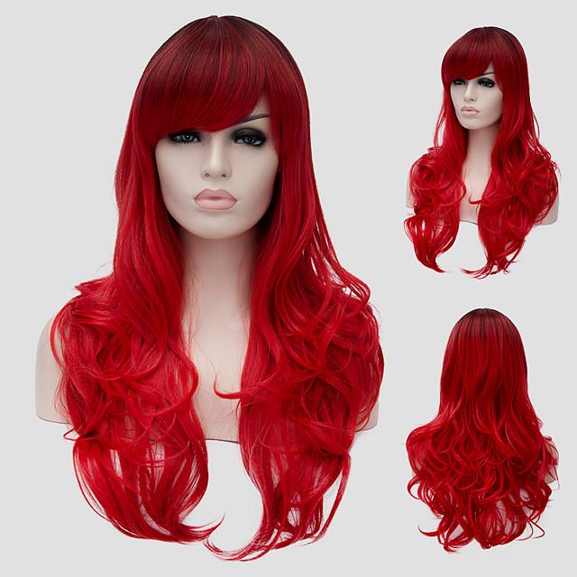 Synteettiset peruukit Laineita Laineita Otsatukalla Peruukki Pitkä Punainen Synteettiset hiukset Naisten Sivuosa Punainen
