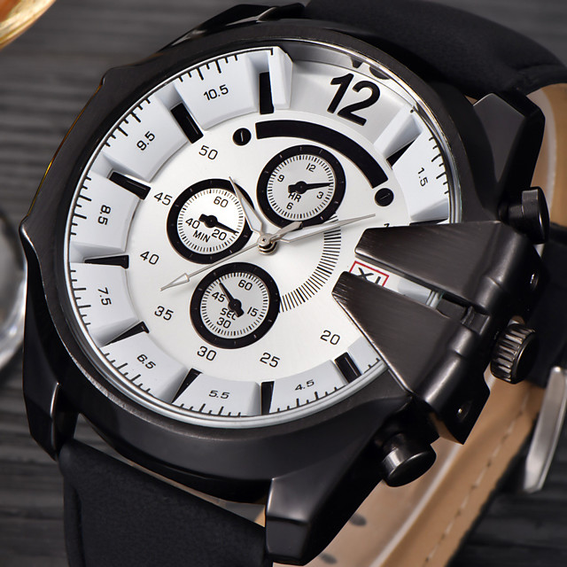 Pánské Náramkové hodinky Na běžné nošení Kalendář Analogové Černá Modrá Hnědá / Jeden rok / Kůže / Xingguang 377