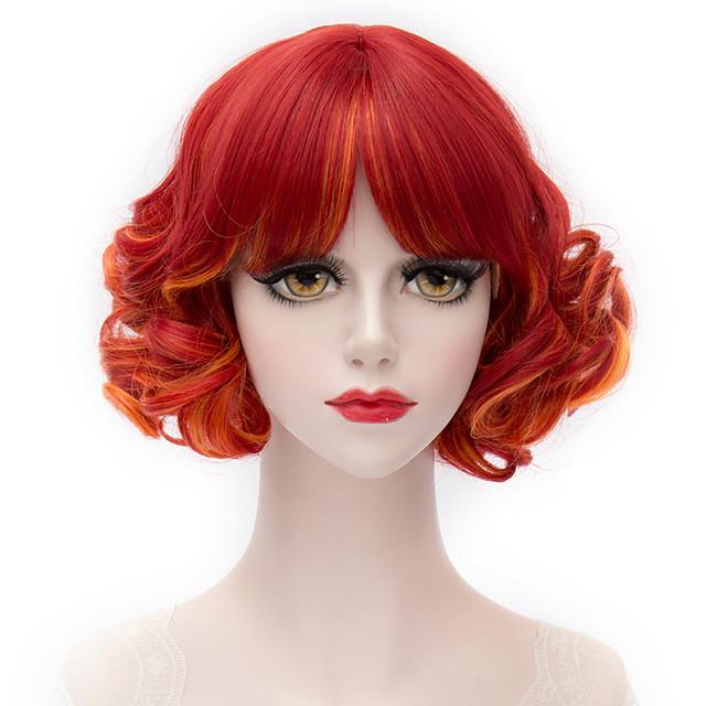 Synteettiset peruukit Otsatukalla Peruukki Lyhyt Punainen Synteettiset hiukset Naisten Punainen