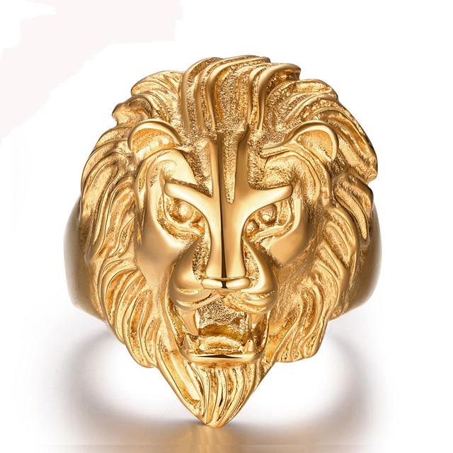 Bandring Golden 18 karat vergoldet Edelstahl Löwe Tier Erklärung Personalisiert Retro 8 9 1 11 12 / Herrn