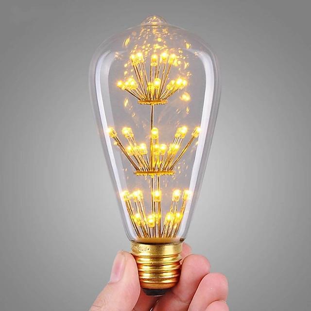 1 pc 3 W Ampoules à Filament LED 200 lm E26 / E27 ST64 47 Perles LED COB Décorative Étoilé Décoration de mariage de Noël Blanc Chaud 220-240 V