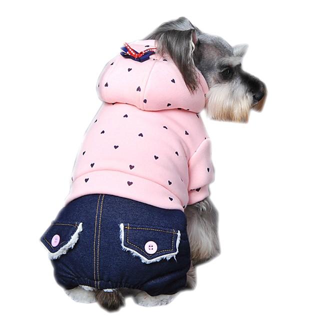 כלב קפוצ'ונים סרבלים בגדים לכלבים מנוקד סגול ירוק ורוד פליז ארקטי כותנה תחפושות עבור קיץ & אביב חורף בגדי ריקוד גברים בגדי ריקוד נשים יום יומי\קז'ואל אופנתי