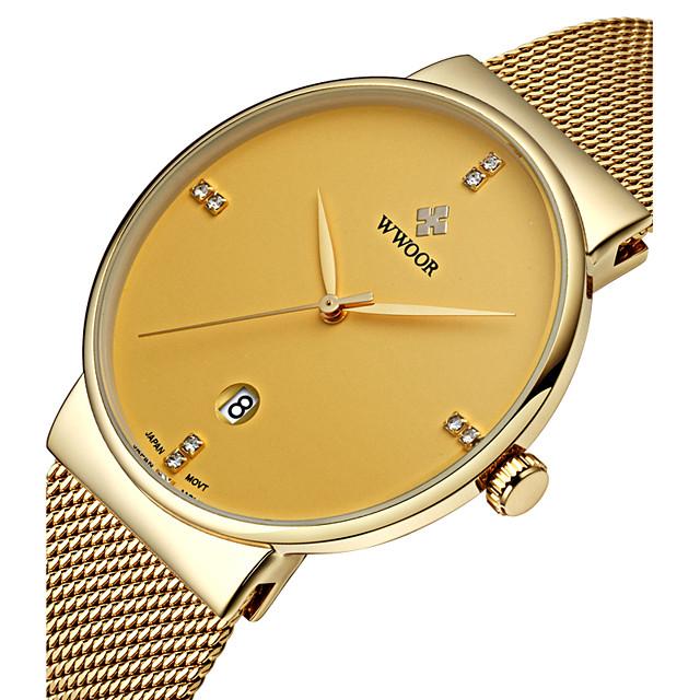 WWOOR สำหรับผู้ชาย นาฬิกาข้อมือ นาฬิกาอิเล็กทรอนิกส์ (Quartz) นาฬิกาควอตซ์ญี่ปุ่น ความหรูหรา กันน้ำ ระบบอนาล็อก ขาว สีดำ ฟ้า / สแตนเลส / สแตนเลส / สองปี / ปฏิทิน / noctilucent